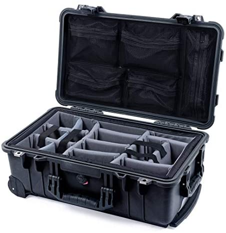 Black Pelican 1510 Case with Grey Padded dividers and mesh