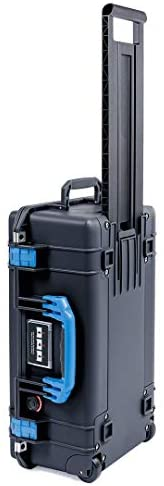 Black Pelican 1535 Air case with Blue Handle latches