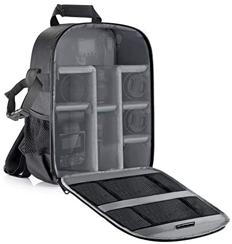 LOTONJT Professional Camera Case Backpack Bag-Waterproof Shockproof High Capacity with Tripod Holder and External Pocket for DSLR, Mirrorless Camera, Flash Or Other Accessories (Gray Interior)