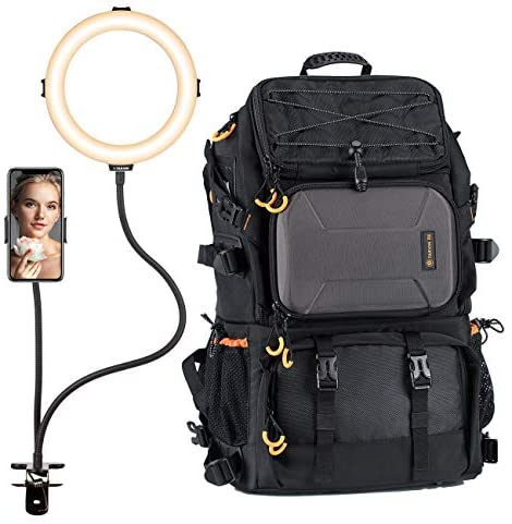 TARION Large Camera Backpack + Ring Light with Desktop Tripod Stand | Extra Large Professional Camera Bag with Laptop Compartment +11″ Selfie Ring Light with Phone Holder Adjustable Brightness
