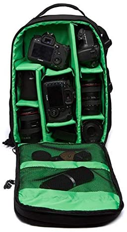 Wecnday-Home Camera Backpack Multi-Functional Waterproof 15.6inch Laptop DSLR Camera Bag Video Case Padded Backpack – Green Camera Padded Bag Shockproof (Color : Green, Size : 27x18x4.2cm)